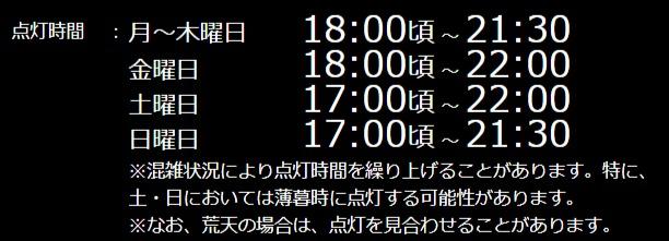 12月8日金曜日から12月17日日曜日まで。時間は曜日によって違います。