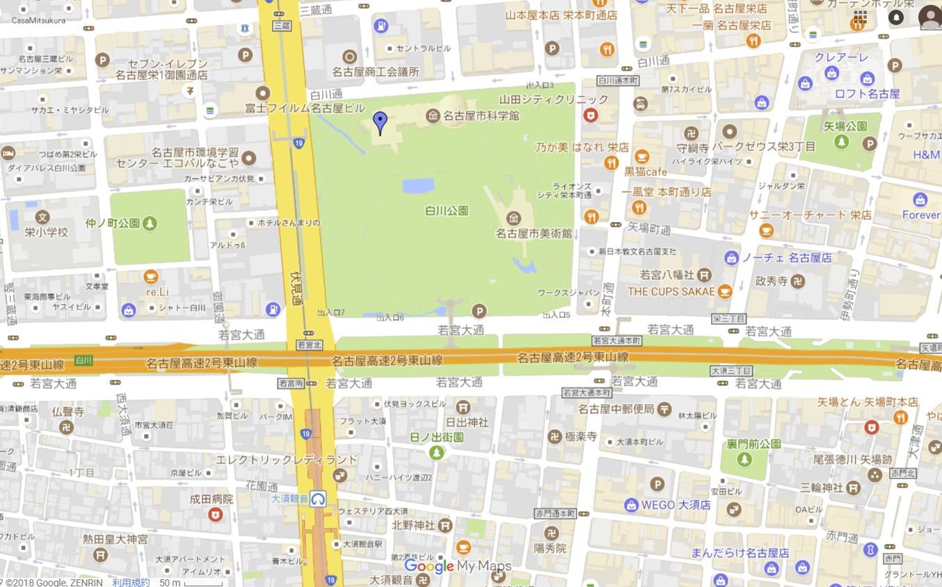 名古屋市科学館のマーベル展地図