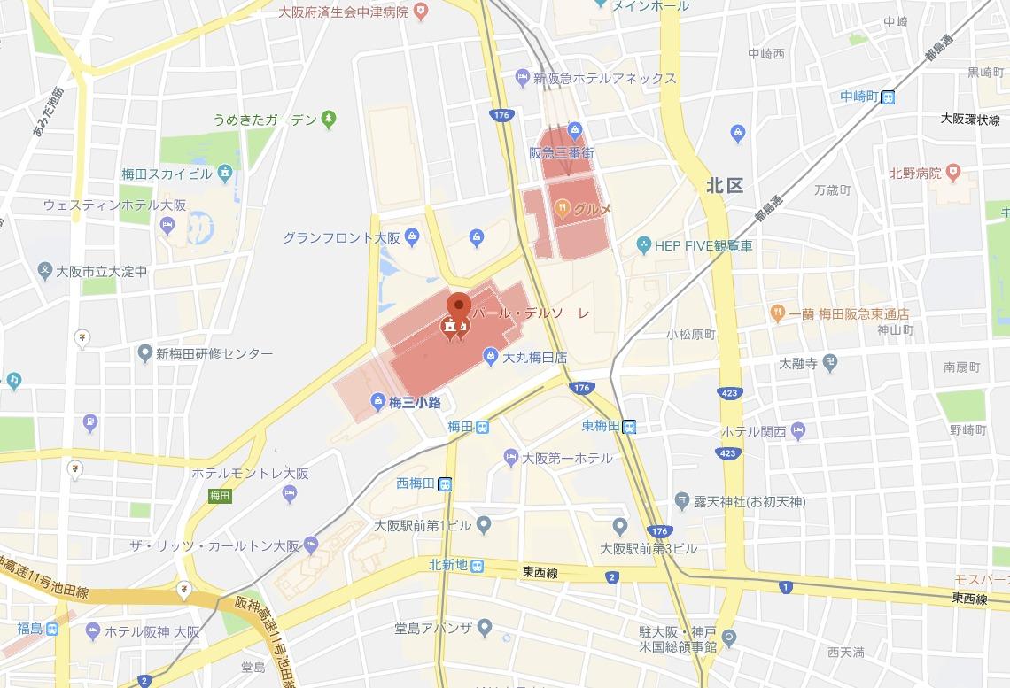 梅田の名探偵コナンカフェ周辺の地図