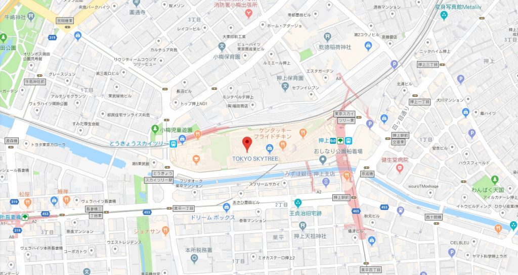 スカイツリーのアベンジャーズイベント周辺地図