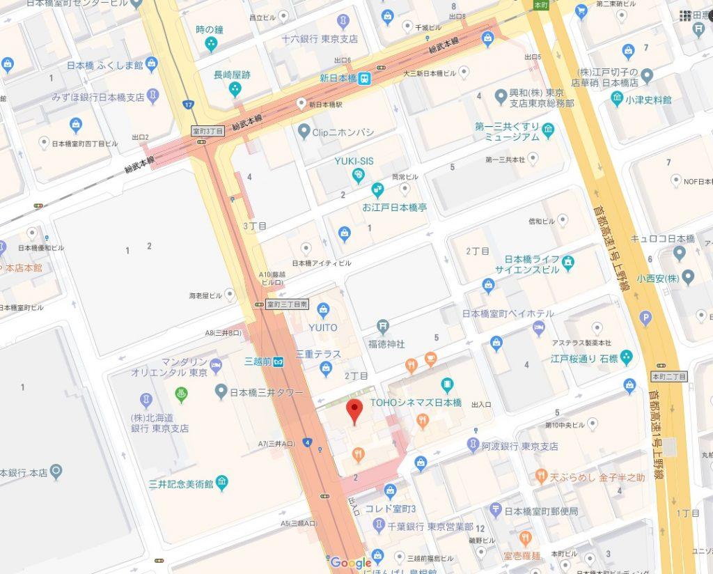 日本橋アートアクアリウム2018周辺地図