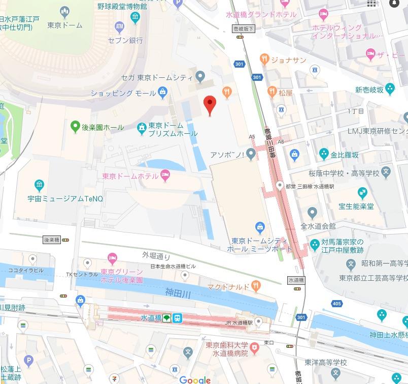 東京ドームシティのわくわく!ウォーターガーデン周辺地図