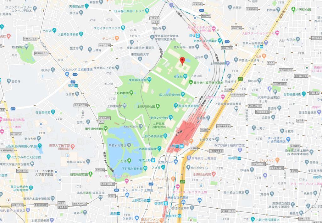 東京国立博物館「秋の庭園開放」周辺地図